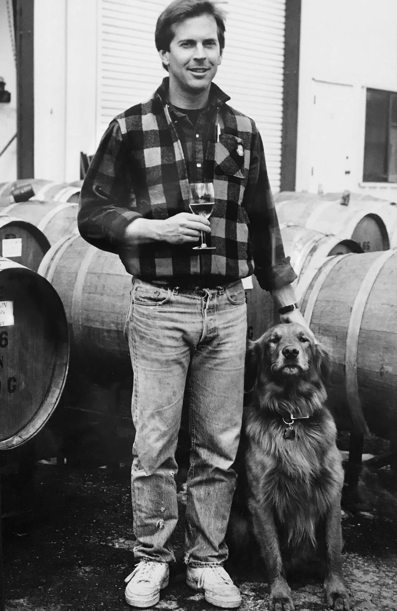 A young Rob McNeill and his dog, Tigerman